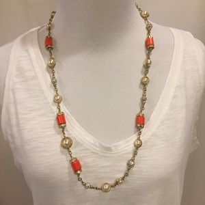 J.Crew Pearl, Orange, Crystal and Gold Necklace